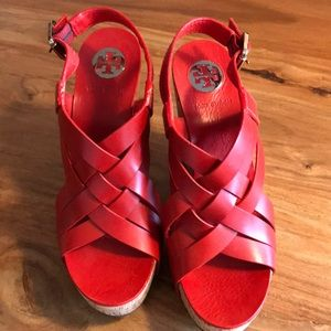Tory Burch Wedges Red Leather 9